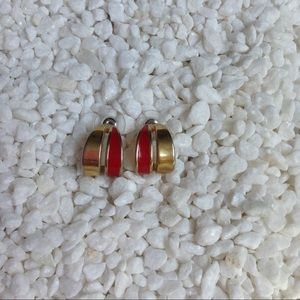 Jewelry - Red and Gold Small Hoop Earrings 🌵 3 for $15 🌵